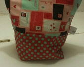 Valentine's Day Card Fabric Large zipper bag ready to ship