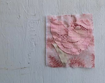 patches jeans clothing coaster mini quilt art aceo pink pastel child embellishment shabby fashion rustic