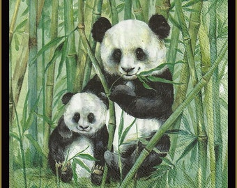 4 Panda Bear Paper Decoupage Napkins - Use For Crafts, Mixed Media, Scrapbooking, Collage And Altered Art Projects