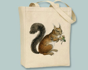 Vintage squirrel on Canvas Tote -- Selection of  sizes available