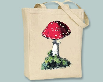 Vintage Red Mushroom llustration on Canvas Tote  - Selection of sizes colors available