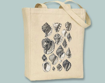 Beautiful Vintage Seashell Collage llustration Canvas Tote -- Selection of sizes available, image in ANY COLOR
