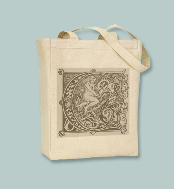 Vintage Witch Riding Demon Goat Natural or Black Canvas Tote - Selection of sizes, ANY COLOR IMAGE