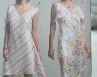 UNCUT Vogue NY The Collection NY Asymmetrical Semi Fitted Dress and Slip V2797 2797 Sewing Pattern Size 18 20 22