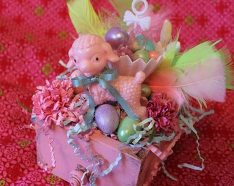 Pink Wooden Drawer Full of Lots of Easter Goodies and Vintage Decorations