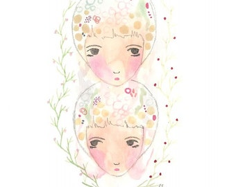 Gemini art print from Original Illustration Art Star Sign Zodiac Astrology Twins