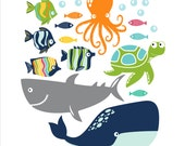 Fish, Whale, Ocotpus, Turtle, Children's Wall Decals, Kid's Bathroom, Bathroom Decor, Bathroom Decals