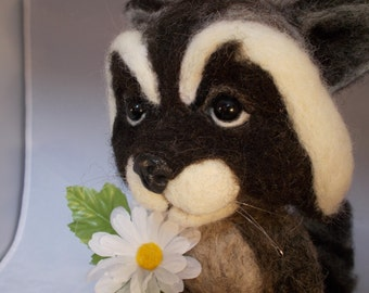 Raccoon needle felted soft sculpture one of a kind OOAK by Grannancan