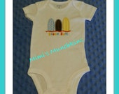 "ONESIE / Baby / Infant / Appliqued-embroidered ""Beach Bum"" Bodysuit / 12 months / ready to ship"