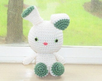 Two-Toned Bunny - White and Sage Green Crochet Bunny