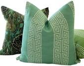 Greek Key Pillows - Aqua Blue Greek Key Pillows - Decorative Pillows - Aqua Accent Pillows - Throw Pillows - Accent Pillows - Euro Shams