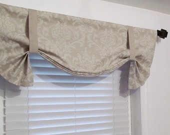 Tie Up Valance  Linen Damask White and Beige Traditions/  Custom Sizing Available!