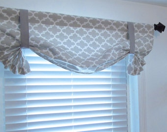 Tie Up  Valance Lined Curtain Quatrefoil French Gray/  Custom Sizing Available!