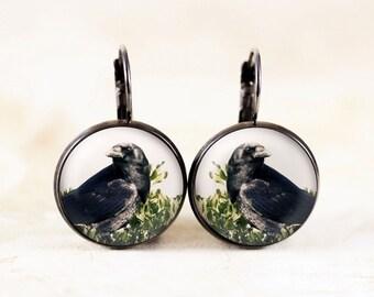 Gothic Crow Earrings - Black Raven Jewelry, Crow Bird Jewelry, Black Bird Earrings, Nature Earrings, Crow Photography Jewelry, Poe Raven