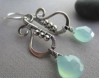 SALE 20% OFF/ Silver Wire Earrings with Chalcedony/ Hammered Silver Earrings/ Chalcedony Earrings/ Aqua Blue Earrings