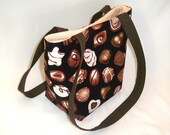 Chocolate Purse, Small Tote Bag, Black Cloth Purse, Handmade Handbag, Fabric Bag, Teen Purse, Shoulder Bag, Valentines Day