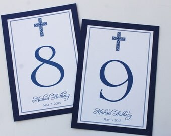 Ornate Cross Boy Baptism-Communion Table Number Cards