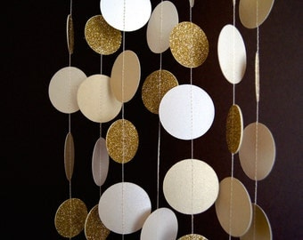 Paper Garland in Cream, Gold and Glittered Gold, Double-Sided, Bridal Shower, Baby Shower, Party Decorations, Birthday Decor, Gold Party
