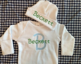 Monogrammed Newborn Layette Gown and Hat-3 Colors