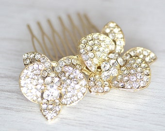 Elegant gold orchid bridal hair piece. Gold shining bridal hair comb. Crystal wedding accessories. Bridal hair piece.