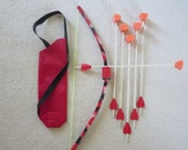 Kids Bow and 6 Arrows, Small Mini archery set with quiver, fun activity PVC toy, play hunting