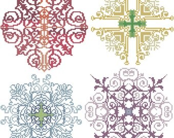 Modern cross stitch Medallions Pattern -  Quad of coordinating rainbow medallions