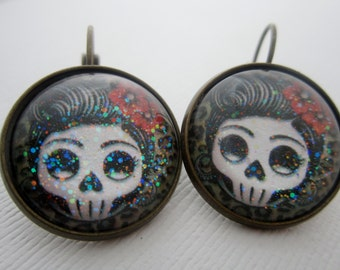 Day O' Dead Rockabilly Girl Star Earrings