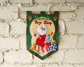 Vintage Holiday Banner, Felt Santa Wall Hanging, Stitched Sequins Handmade Christmas Decor, Holiday Folk Art