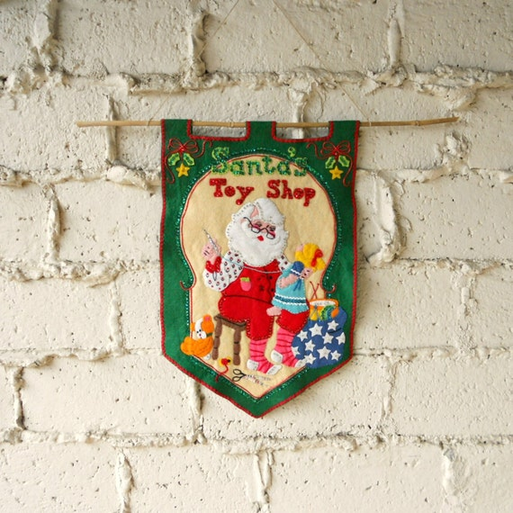 Vintage Christmas Wall Decor : Items similar to vintage holiday banner felt santa wall