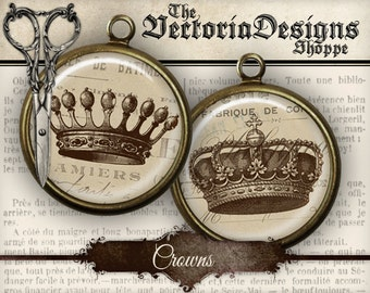 Crowns Circles - 1 inch / 18mm / 16 mm / 14mm / 0.5 inch - VDCIVI0052