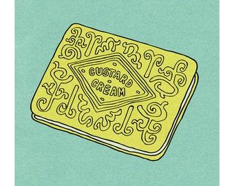 Custard Cream Biscuit - Illustration Art Print