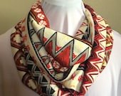 Red, Cream, Yellow and Black Aztec Striped Infinity Scarf