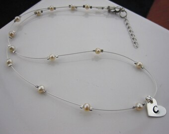 Floating pearl silver necklace, tiny freshwater pearl, Initial heart sterling silver