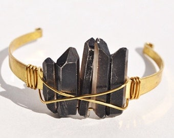 The Power of Three Black Quartz Cuff Bracelet Boho Brass Festival Fashion Coachella sxsw choose your color