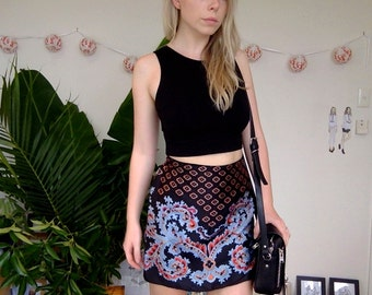 Handmade Paisley Printed High Waisted Black Skirt With Blue Indian Style Print