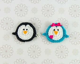 Instant Download - PDF Crochet Pattern - Penguin Applique - Text instructions and SYMBOL CHART instructions