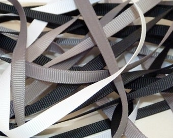Black White Shades 6mm Plain Grosgrain Ribbon
