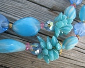 Gorgeous Turquoise Blue Double Strand Necklace with Crystals and Cluster Beads