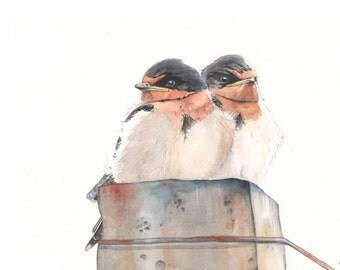Swallows ORIGINAL Watercolor painting