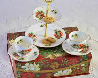 Boxed Christmas Set Cake Stand Tea for Two, Teacup, Christmas Party, FREE shipping