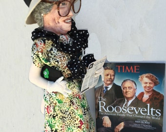 ELEANOR ROOSEVELT DOLL  Cloth doll-Hand painted-Needle Sculpted-Art Doll