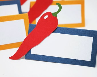 Chili Pepper Food Tags Place Holder Set of 12 Your Choice Of Color