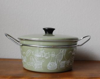 Mid Century Enamel cookware olive enamel graphic