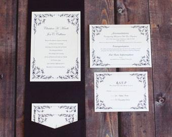 Customizable Shabby Chic Pocket Enclosure Wedding Invitation Set - Design Deposit
