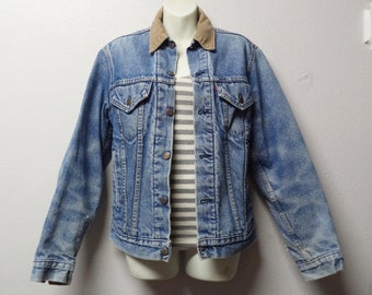 Vintage 80's Levis Denim Jacket with blanket lining  and corduroy collar Sz Small 39 chest