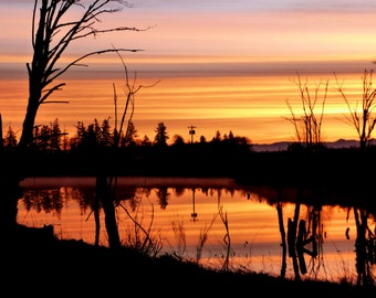 Sunrise Pond Reflection Nature Picture Greeting Card