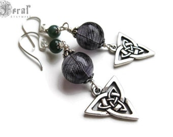 Celtic Triskele with Moss Agate and Tiny Witch Ball Earrings.