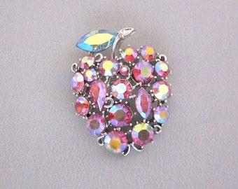 LISNER Jewelry Lisner Rhinestone Pin Pink Rhinestone Fruit Brooch Apple Pin Fruit Jewelry Vintage Lisner Rhinestone Jewelry JryenDesigns
