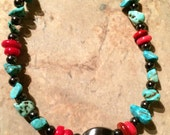 50 % SALE-Turquoise black red necklace, chipped Turquoise Beads
