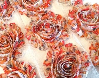"Orange Flower Print Shabby Rose Trim 2.5"" Shabby Flowers Shabby Chiffon Flowers - Printed Shabby Chic Trim Wholesale Rosette trim 6cm 1 yard"